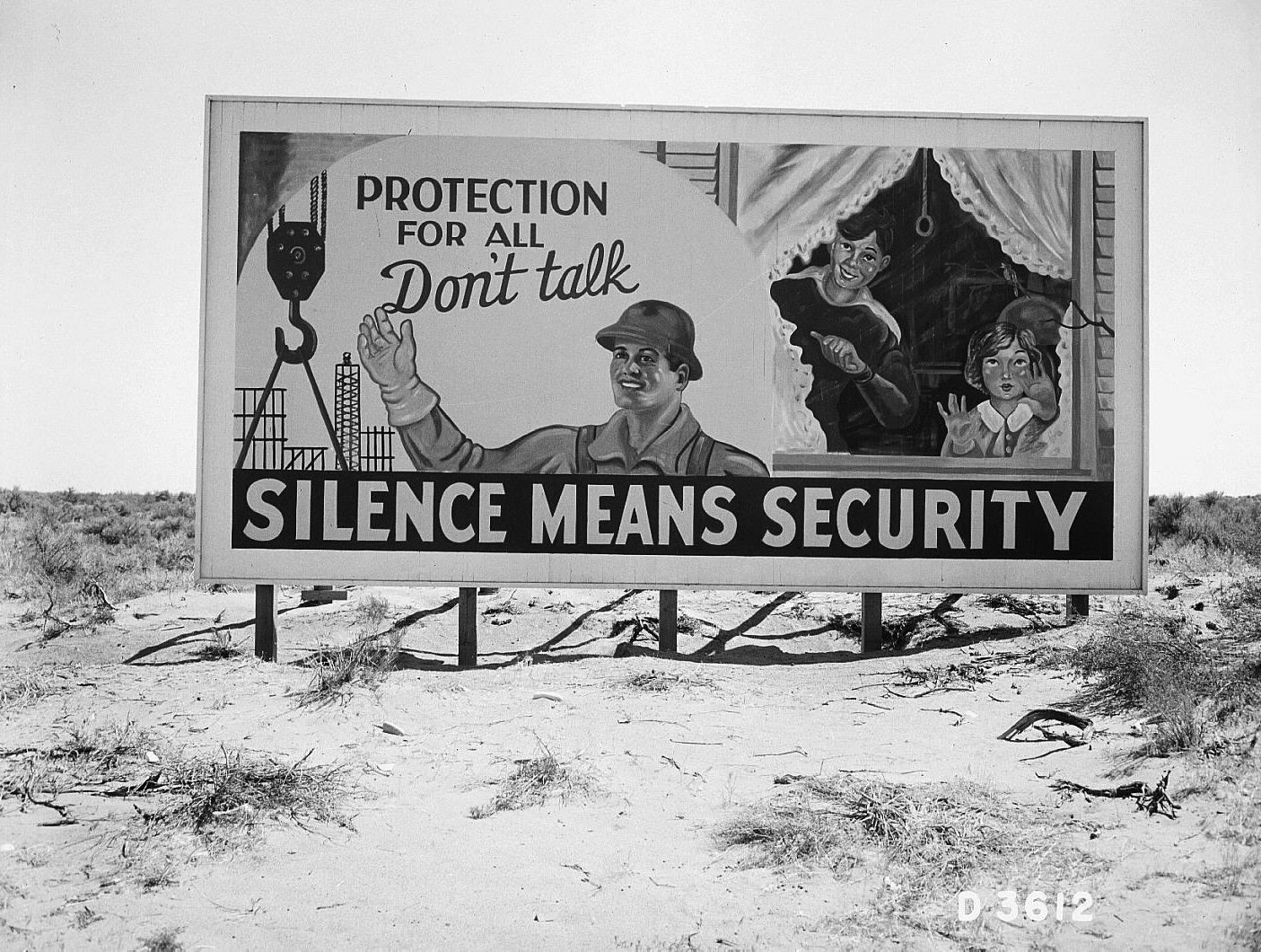 A World War II security billboard at Hanford, WA