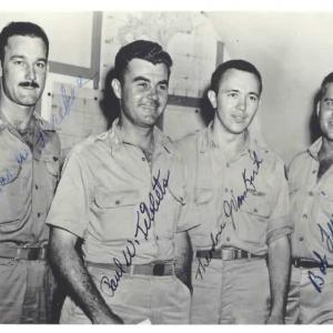 Tom Ferebee, Paul Tibbets, Dutch Van Kirk, and Bob Lewis. Courtesy of the Joseph Papalia Collection.